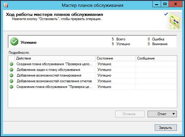 Успешная проверка плана обслуживания SQL