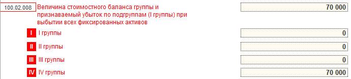 100.02.008 IV указывается стоимость убыток при выбытии стоимостного баланса IV группы
